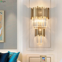 Postmodern Lustre Crystal Led Wall Lamp Gold Metal Bedroom Led Wall Lights Fixtures Dining Room Led Wall Light Foyer Wall Sconce