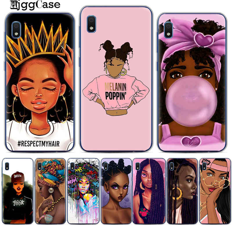 2bunz Melanin Poppin Aba Soft Phone Case For Samsung A10 A20 A30 A50 A70 A6 A8 A7 A9 S10 S10e Plus 2018 Fashion Black Girl Cover