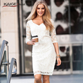 Kaigenina nova moda hot ladies meia manga lace dress retro elegante festa outono dress 2228