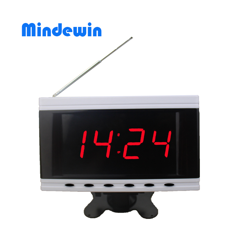 2017 Mindewin New Super Match Waiter Calling System Receiver LED Display M-R-2  Wireless Calling Pager System Waiter Call Button wireless waiter buzzer calling system best discount price of wireless calling full set 1 display 1 wrist pager 10 call button