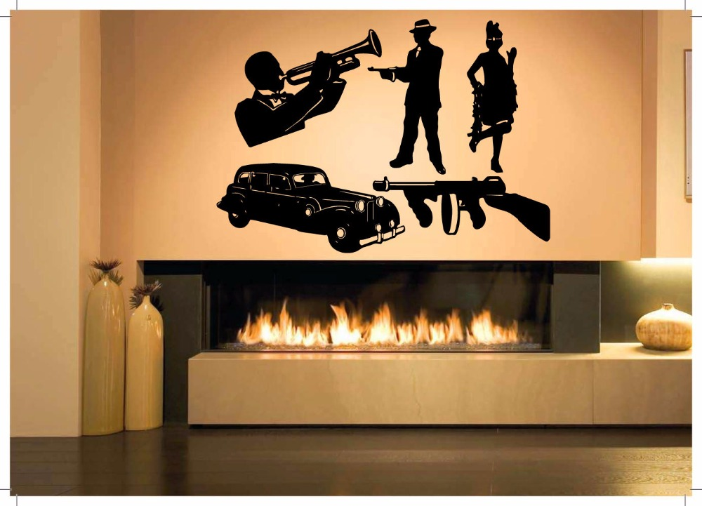 Wall room decor art vinyl sticker mural decal jazz for Vinyl records decorations for wall