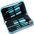 Multifunctional 11pcs Makeup Brush Set Blue Aluminum Long Handle Cosmetic Brushes Kit with Leather Bag Eye Lip Brush