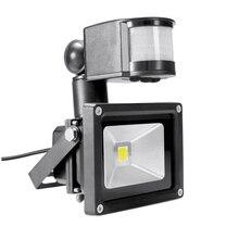PIR 10 Вт Светодиодный прожектор Toolery 12 В 24 В Входной прожектор Водонепроницаемая солнечная система гаража безопасности датчик движения время люкс регулируемый