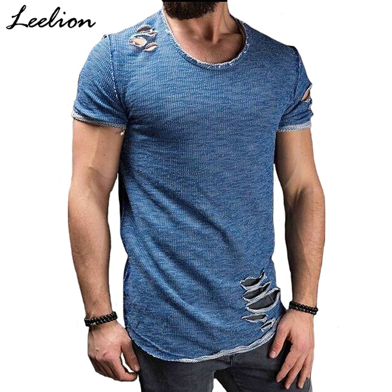 LeeLion 2018 Summer Cotton T Shirt Men Fashion Hole Short Sleeve T-shirt Solid Slim Fit O Neck Tops Casual Tshirt DropShipping