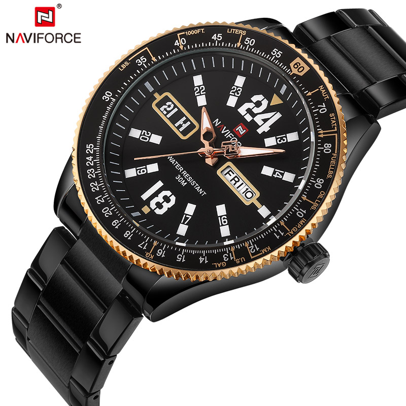 2017 NAVIFORCE Sports Watches Original Men Steel Quartz Watch Man Military Waterproof Clock Men's Wristwatches relogio masculino weide new men quartz casual watch army military sports watch waterproof back light men watches alarm clock multiple time zone