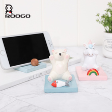Roogo Decorative Mobile Phone Holder Mini Unicorn Decor Resin Miniature Figurines Of Animal Cute Home Decoration Accessories