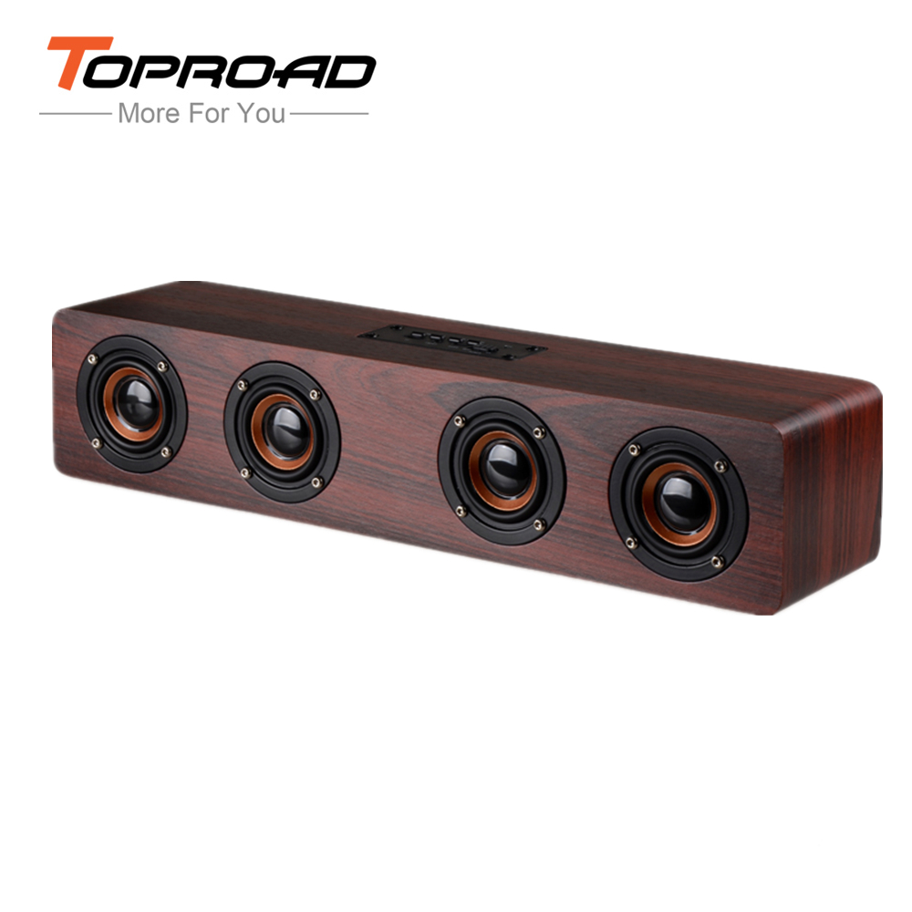 TOPROAD 12W Hifi Bluetooth Speakers Wireless Stereo Subwoofer Altavoz Wood Home Audio Desktop speaker Handsfree TF