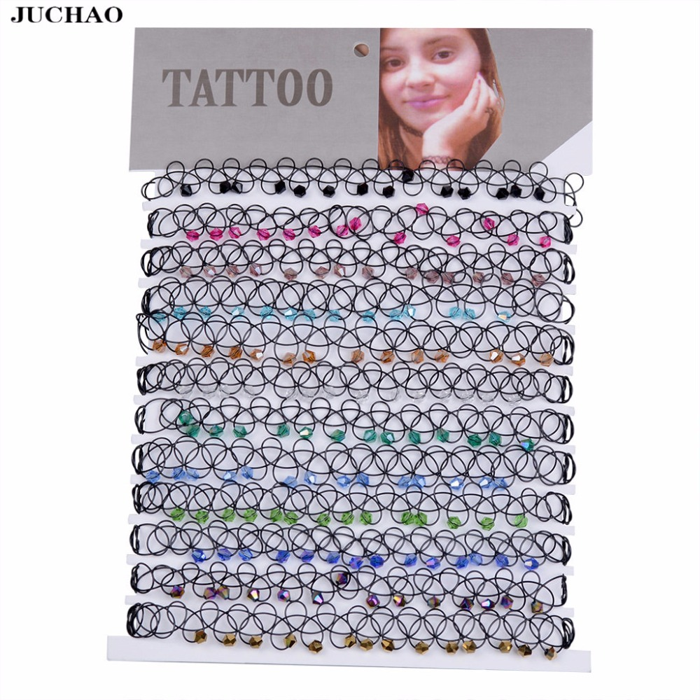 Juchao colares para mulheres, gargantilha de tatuagem elástica vintage, pingente gótico de cristal para presente de casamento
