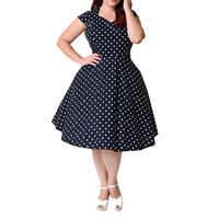 Women 8XL 9XL Plus Size Retro Polka Dot Dress Big Size 4XL 5XL 6XL Party Midi Black Vintage 1950s 60s Rockabilly Swing Dresses