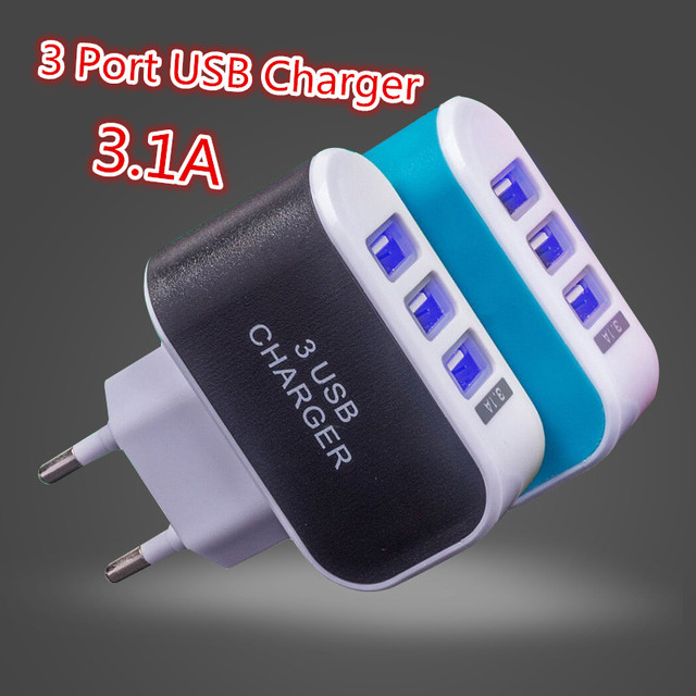 3 Ports 2A USB EU Plug Charging Mobile Phone Adapter Dock Wall Charger Cell for iPhone 7 6s 6 5s 4s ipad Android Samsung Charge