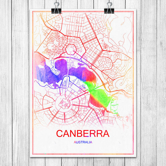 Australia Canberra Map.Canberra Australia Colorful World City Map Print Poster Abstract