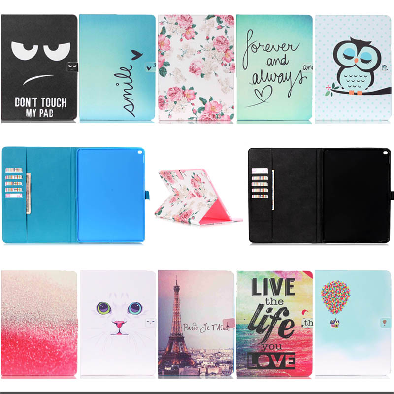 Fashion ROSE TOWER BLACKEYE painting Wallet PU leather case cover for ipad pro stand flip cover 12.9 tablet cases S3D25D