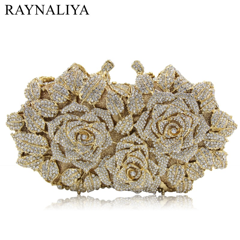 Women Gold Rose Flower Hollow Out Crystal Evening Metal Clutches Small Minaudiere Purse Wedding Box Clutch Bag SMYZH-E0364 pink crystal flower floral fashion wedding bridal hollow metal evening purse clutch bag case box handbag smyzh e0093