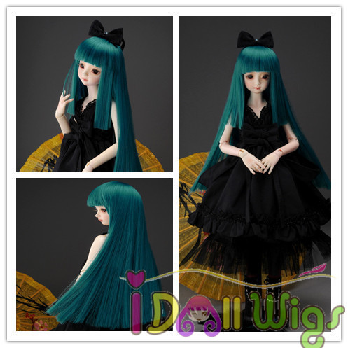 Free Shipping Korea High Temperature Fiber Bright Green Long Straight BJD Doll hair Wig for 1/3 1/4 1/6 for Choose on sale цена 2017