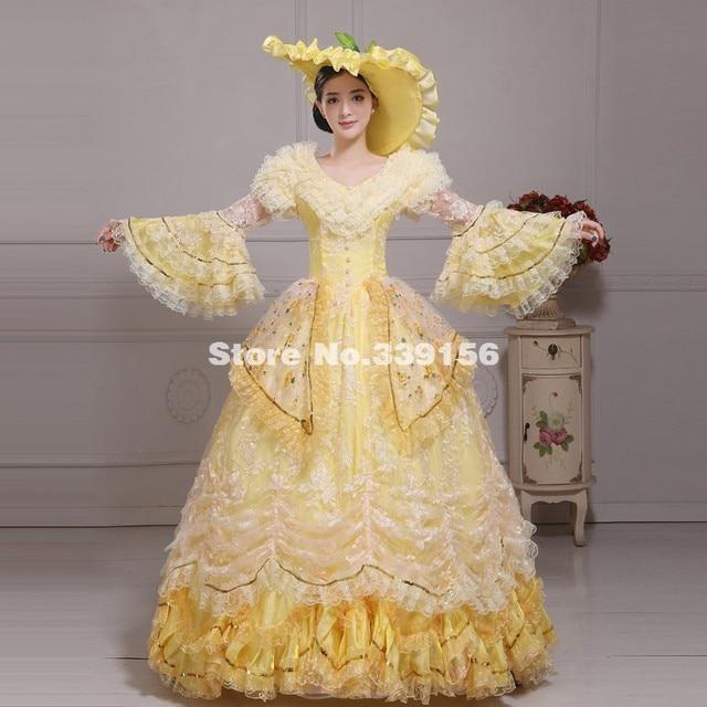 Elegant Yellow Southern Belle Dress Victorian Marie Antoinette Fancy ...