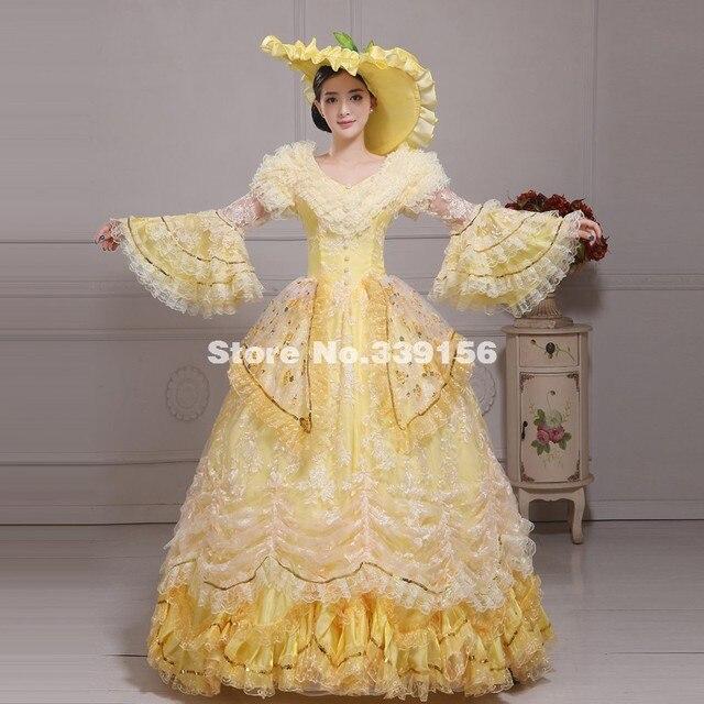 Favori Élégant Jaune Southern belle Robe Victorienne Marie Antoinette  MR87