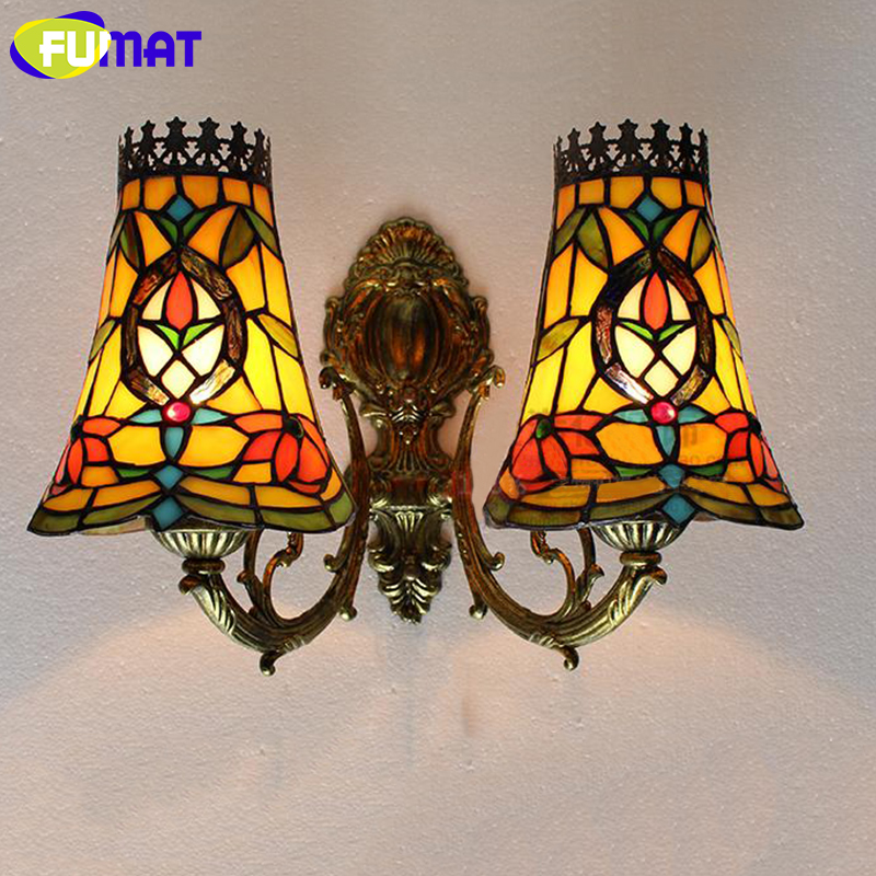 FUMAT Stained Glass Wall Lamp Vintage Baroque Wall Light TV Wall Lamp for Bedroom Corridor Mirror Headlight Living Room цена 2017