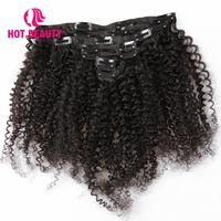 Hot Beauty Hair Kinky Curly Clip Ins Weave Remy Hair Natural Brazilian Clip In Human Hair Extensions Full Head 7Pcs/Set 120G