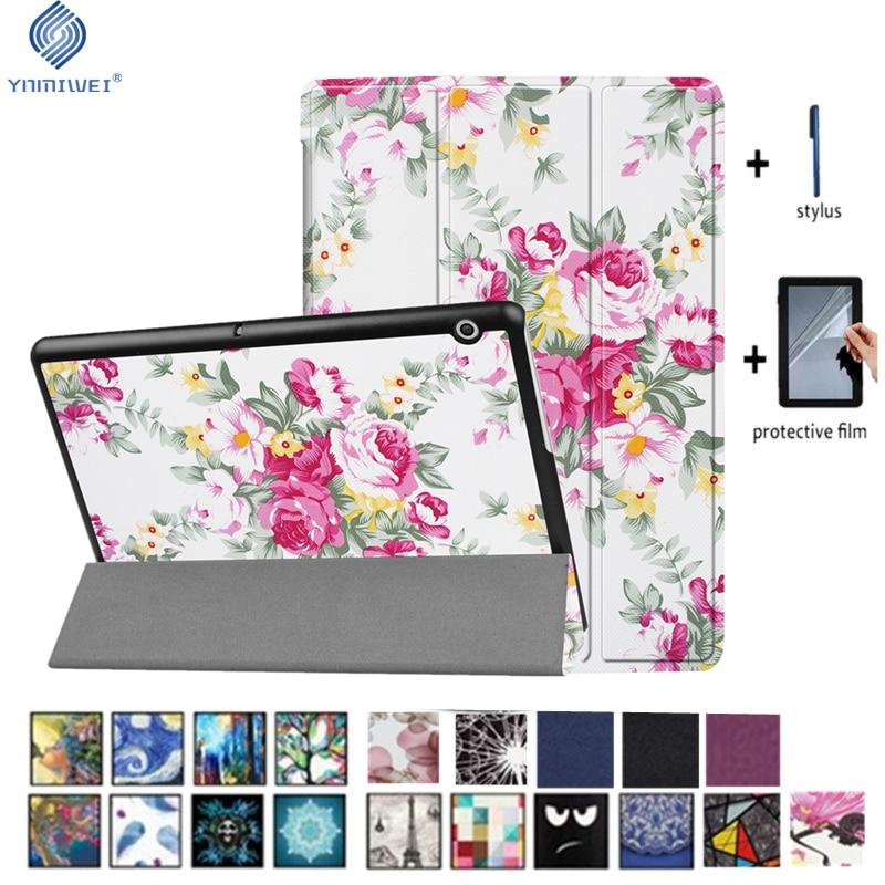YNMIWEI para Huawei MediaPad T3 10 Tablet soporte Slim casos para T3 9,6 pulgadas Honor Play Pad 2 cubierta AGS-L09 AGS-L03 W09 + película