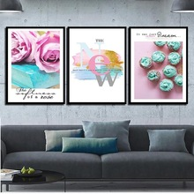 Modern Space Art Flower And Cake Wall Picture Watercolor Oil Canvas Prints Poster Home Decor Painting For Girl Room No Framed