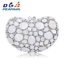 Роскошные белые мраморные вечерние сумки в форме сердца с драгоценным камнем и кристаллами, Коктейльная Свадебная Сумка-клатч, банкетные сумки