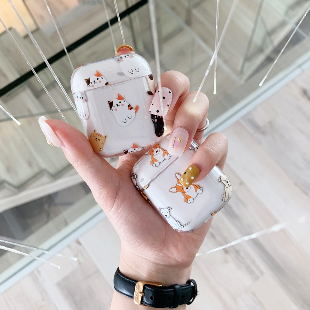 2019 New Lovely Cat Dog Earphone Hard Transparent Protect Cover For Airpods 2 Wireless Bluetooth Earphone Case Charging Box Bags
