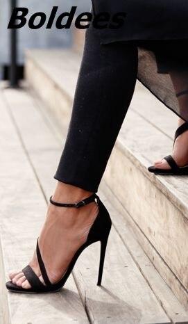 Boucle Conception En Talons Noir Sandales Robe Ligne Femmes Arrivée Haute Mince La Style Ouvert Daim À Et Cette Bout Année Nouvelle Mode Sexy zZH4UOdwzq