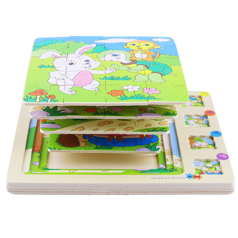 Animals Multilayer Jigsaw Puzzles 3D Popular Toy Learning Educational Intelligence Puzzle Games Wooden Toys For Children