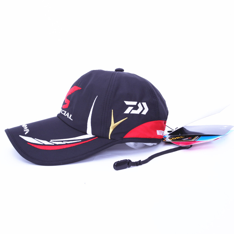 Free shipping Adjustable breathable Daiwa fishing hat outdoor sports baseball hat sunshade caps black white color