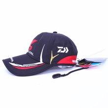 Бесплатная доставка Регулируемые дышащие Daiwa Рыбалка Hat Спорт на открытом воздухе бейсбольную кепку Зонт шапки черный белого цвета