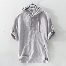 Summer Fashion Men Shirts Hooded Collar Half Length Sleeve Linen Cotton Tee Pullover Japanese Casual Stripe T-shirts