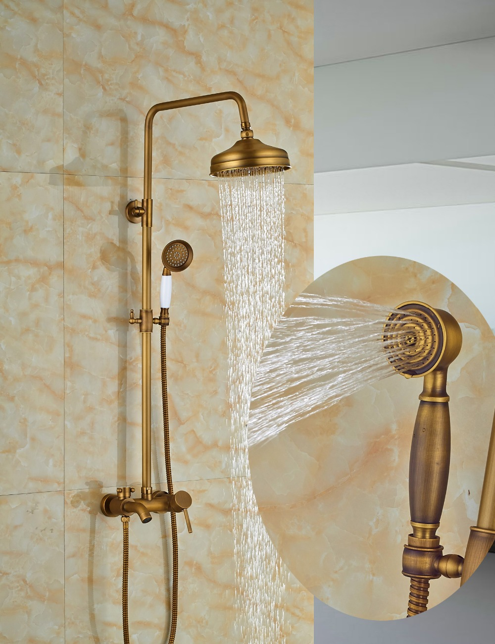 Wholesale And Retail Classic Antique Brass Round Rain Shower Head Wall Mounted Shower Column Mixer Tap W/ Tub Spout wholesale and retail promotion wall mounted bathroom tub faucet spout w hand shower sprayer antique brass shower mixer tap
