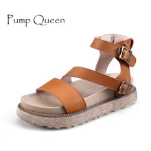 Summer Women PU Casual Sandals Buckle Classic Solid Color 2017 Mujer Ladies Shoes Platform Basice Sandle