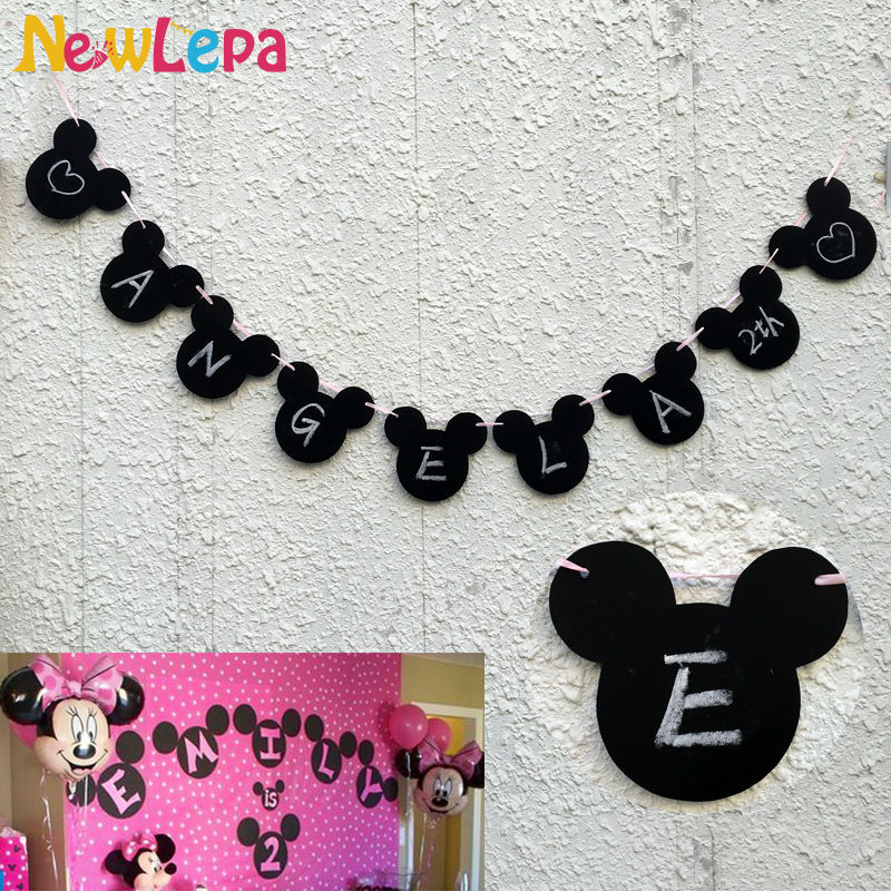Minnie Mouse Baby Shower Party Favors: Minnie Mickey Mouse Happy Birthday Bunting DIY Banner