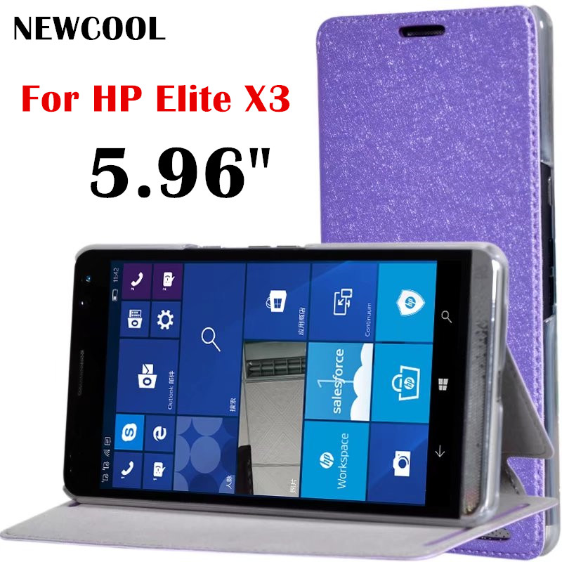 966fd67c19918f NEWCOOL Case for HP Elite X3 5.96 ,Silk Grain Flip Cover Leather Case For HP  Elite X3 5.96 Phone case Protective shell