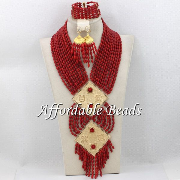 цены Exclusive Coral Beads Wedding Necklace Set Fashion African Coral Jewelry Set Wholesale Free Shipping CN115