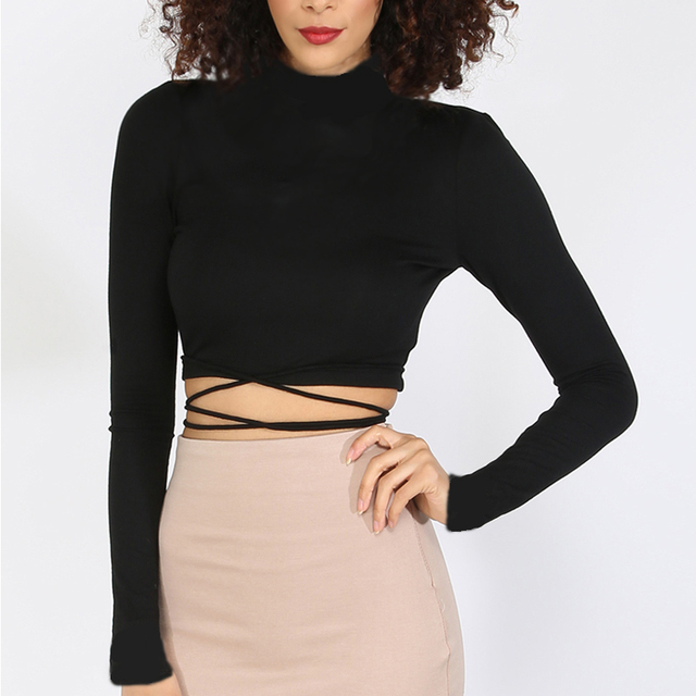 fb2915444b9 Women Turtleneck Long Sleeve Crop Tops with Wrap tie Girl's Wrap Around  Belt Crop T-