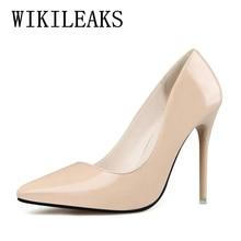 2017 mode en cuir verni fétiche haute talons chaussures femmes sandales nude bout pointu pompes chaussures de mariage stiletto valentine chaussures