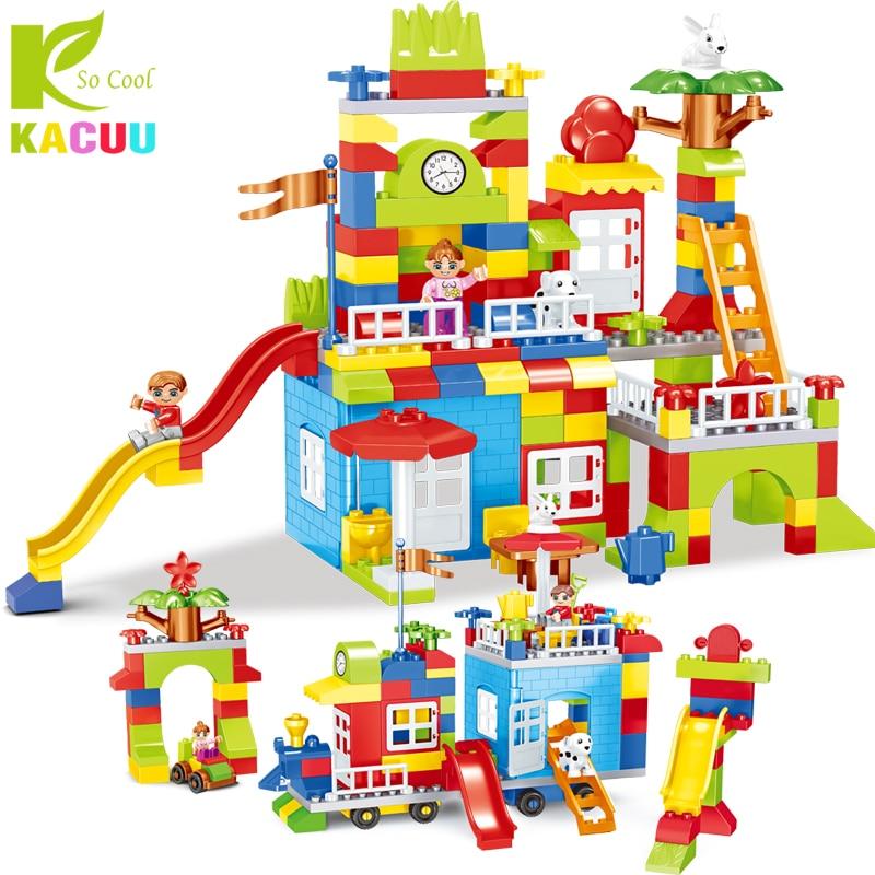 Newest DIY Big Size Particle Building Blocks Colorful City Castle Educational Toy For Children Compatible legoINGLYs duplo slide цена
