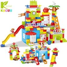 Newest DIY Big Size Particle Building Blocks Colorful City Castle Educational Toy For Children Compatible legoINGLYs duplo slide
