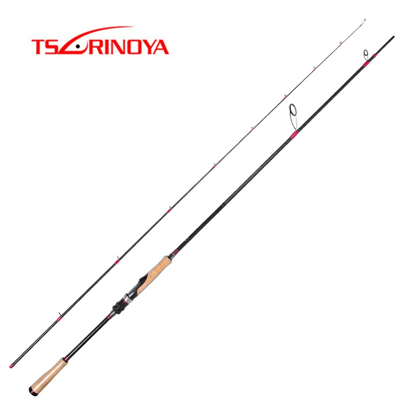 TSURINOYA 2,47 m caña de pescar giratoria 2 secciones de fibra de carbono Barra de señuelo de pesca FUJI accesorios de señuelo de peso 7-25g pesca polo