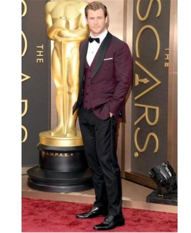 Fashion Blurgundy Custom Made 3 PCs (Jacket+Pants+Vest+tie) Men Suits Wedding Suits For Men Groom Tuxedos Business Formal Suit