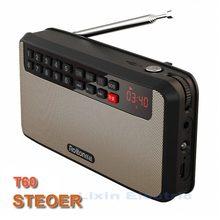 RoltonT60 Reproductor de MP3 Estéreo Mini Altavoces Portátiles De Audio Apoyo TF tarjeta de Reproducción de Música de Radio FM Con Pantalla LED LLEVÓ La Linterna