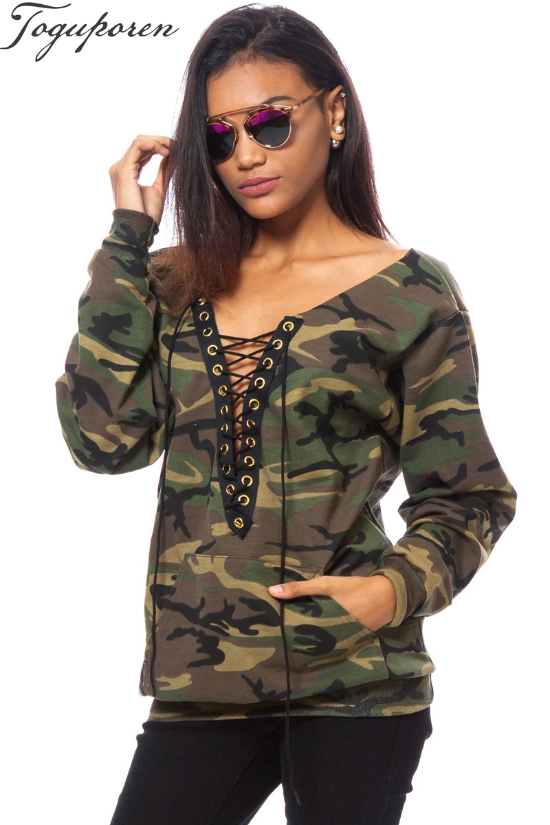 2018 Summer Winter Women Tops Sweatshirts Camouflage Printing Lace Up Bandage Deep V Nec ...