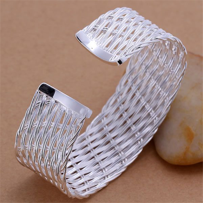 Bracelets & Bangles Trendy Wholesale Free Shipping Silver Plated Bracelet For Male Female 925 Fashion Jewelry Web Bangle/araajiha Kn-b035 Let Our Commodities Go To The World Bangles
