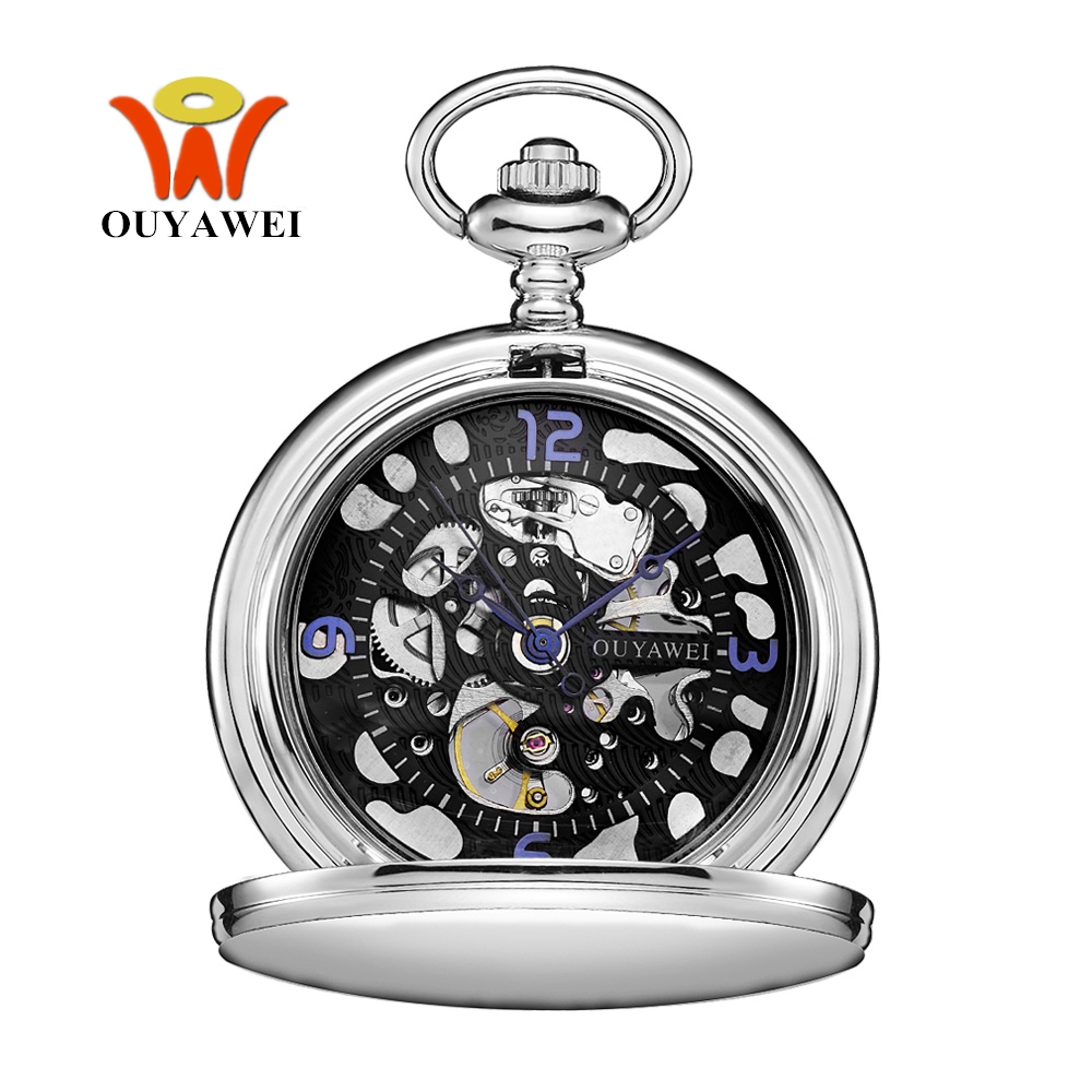 Original OYW Brand Mechanical Hand Wind Pocket Watch Men Retro Vintage Pendant Skeleton Design Full Steel Chain Pocket Fob Watch