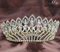 מלאים פרח זהב עגול כלה חתונת קראון טיארה בגימור אביזרי תכשיטי שיער תחרות גדולה גביש יהלומים מלאכותיים ברור