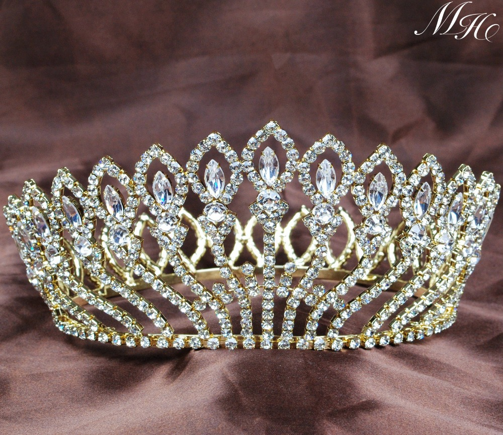 Gold Flower Full Round Bridal Wedding Crown Clear Rhinestone Crystal Large Tiara Headband Pageant Hair Jewelry Accessories