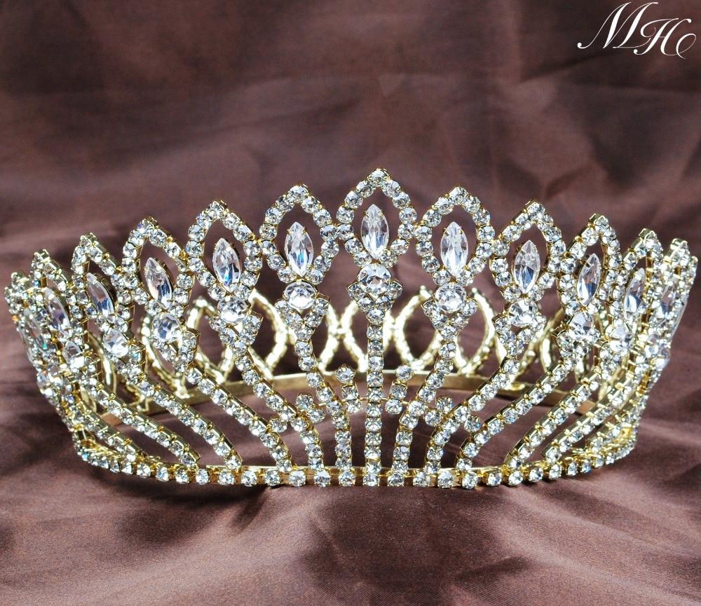 Gold Flower Full Round Bridal Wedding Crown Clear