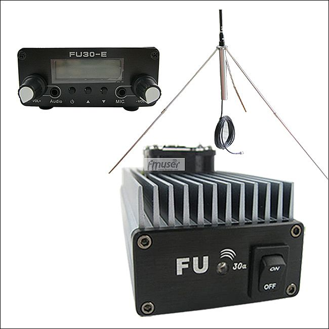 FMUSER 30W Professional FM amplifier transmitter 85 110MHz fmuser FU 30A gp antenna kit